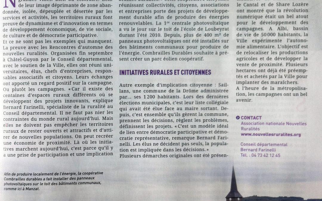 Article sur Combrailles Durables dans le magazine du Conseil Départemental «Le Puy-de-Dôme Mouvement»