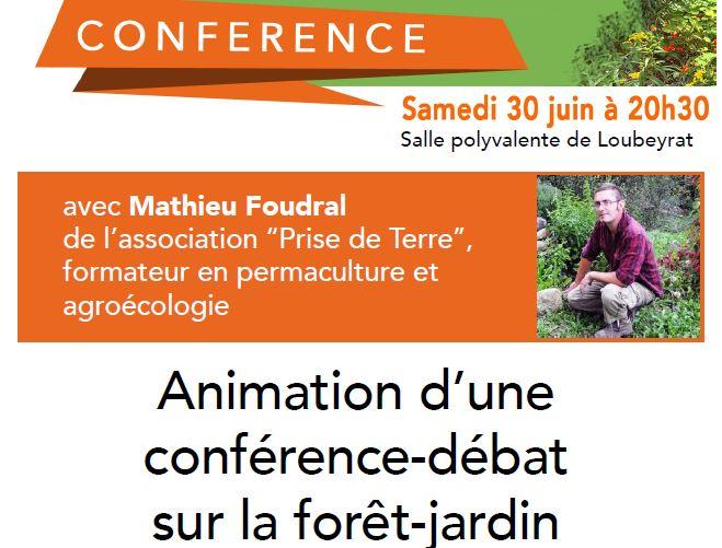 Conférence-débat sur la forêt-jardin le 30 juin à Loubeyrat