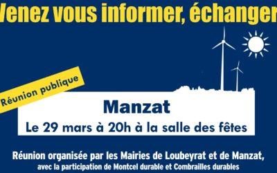 Réunion publique vendredi 29 mars à Manzat